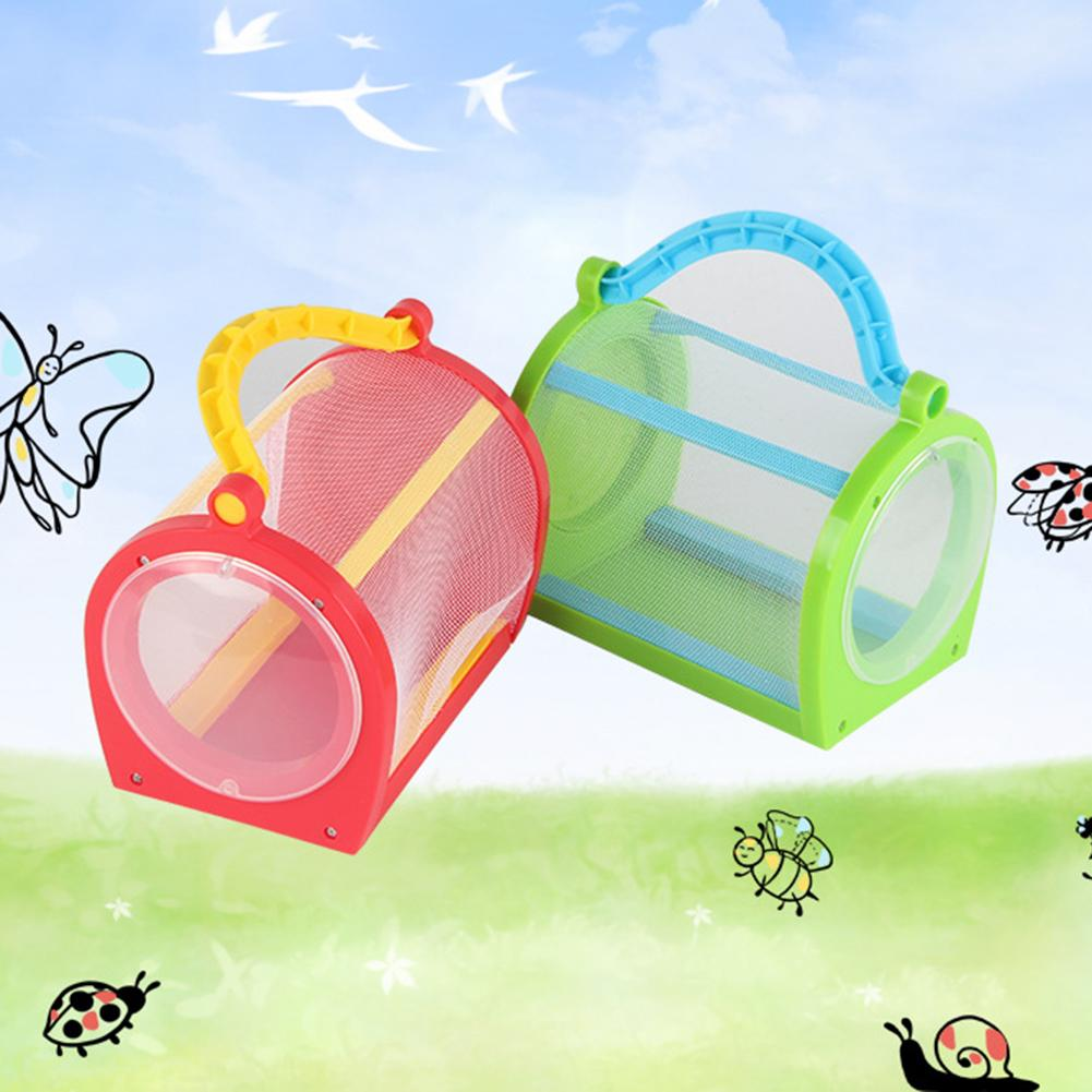 Kids Insect Cage Portable Net Catching Butterfly Insect Habitat House Cage With Carrying Handle Feeding Observation Experiment