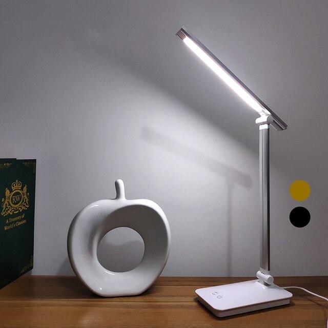 JUNEJOUR LED שולחן אור מנורת שולחן Dimmable נגיעה חיישן מתקפל עיניים להגן על עם USB שחור/כסף/זהב