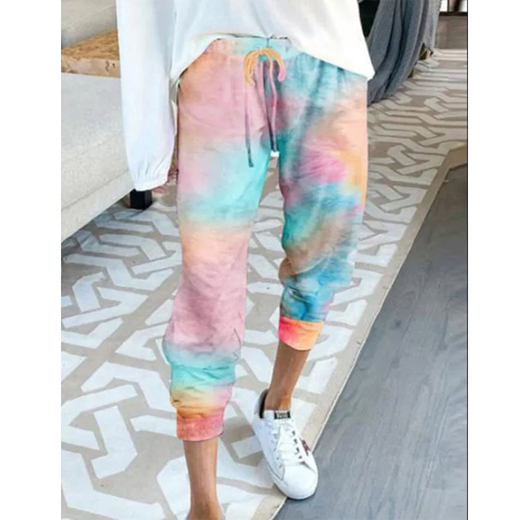 WEPBEL Tie-Dye Printed High-Waisted Pencil Pants Summer Women Pants Plus Size Feet Casual Capri-Pants Trousers