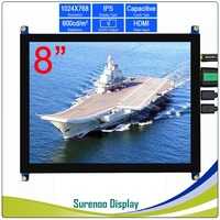 8/8.0 1024*768 4:3 Higher Brightness HDMI LCD Module Display Monitor IPS Screen with USB Capacitive Touch Panel Audio Output