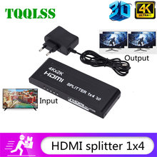TQQLSS Splitter compatibile HDMI 1X4 HD 4K @ 30Hz HDCP compatibile HDMI 1 In 4 Out per Tv LED Box3 Monitor Ps4 proiettore Computer