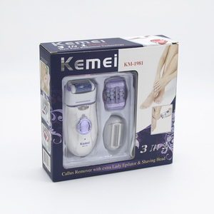 Image 5 - Kemei 3 in 1 Electric Epilator For Women Electronic Foot File Female Depilation Machine Rechargeable Hair Removal