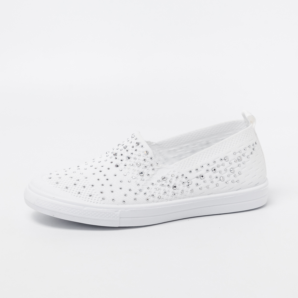 Women's Ladies  Shoes Flat Loafers Crystal Fashion White Bling Sneakers Knit Slip On Breathable Casual Shoes Summer 2020