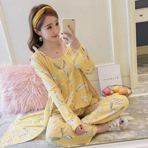 Image 2 - Suknia ustawia kobiety koreański styl codzienne drukowane słodkie szaty damskie modne oddychające eleganckie ubrania Homewear miękkie studenci kobieta