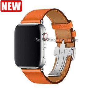 Image 5 - 革シングルツアー展開バックルappleの腕時計6 5 4 3 2バンド44ミリメートル40ミリメートル時計バンドハーム島のロゴiwatch accessoreis