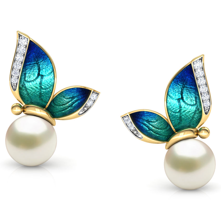 FDLK  Gorgeous Butterfly Pearls Stud Earrings Gold Crystal Enamel Earrings For Women
