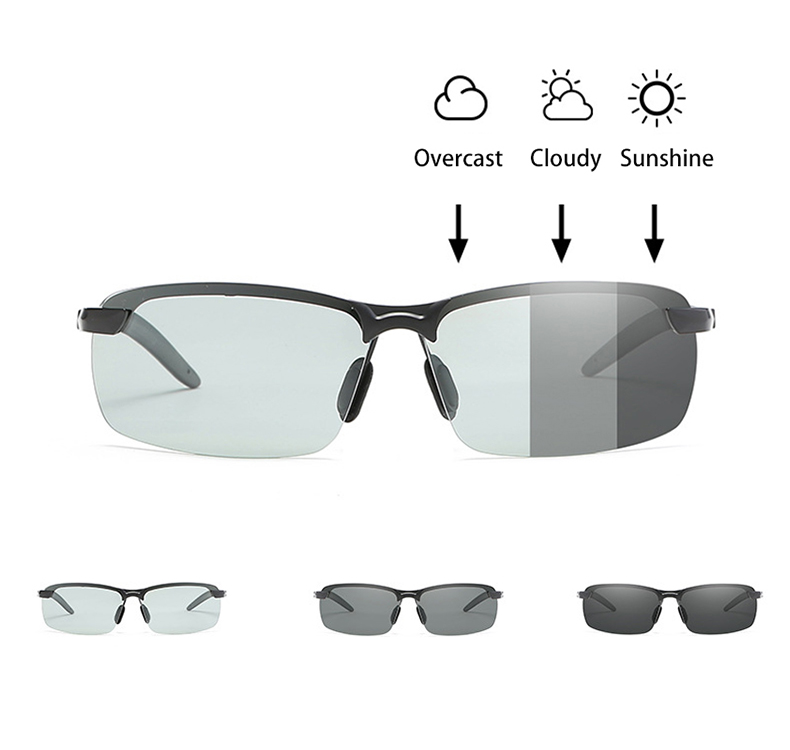 Classic Driving Photochromic Sunglasses Men Brand Polarized Chameleon Discoloration Sun Glasses For Men Anti-glare Goggles