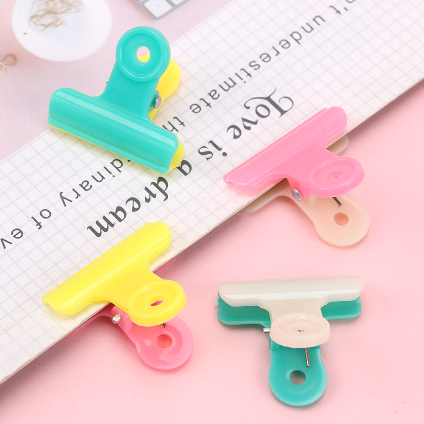 10PCS Novelty Double Color Plastic Folder Financial Binder Clips  Notes Letter Paper Clips Office Stationery Supplies