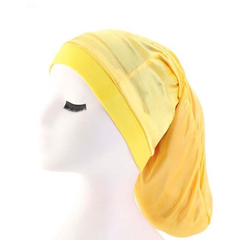 XEONGKVI New Stretch Dreadlock Bonnet   Skullies     Beanies   Spring Autumn Brand Long Tail Braid Women Turban