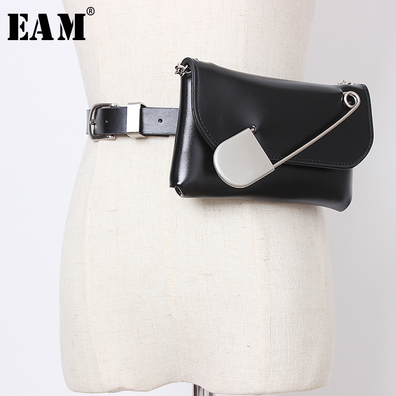 [EAM] Pu Leather Brooch Decoration Metal Chain Mini-bag Belt Personality Women New Fashion All-match Autumn Winter 2019 JZ147
