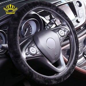Car-covers Steering-wheel faux fur Steering Wheel Cover Genuine Leather Steering Wheel Cover soft Classical black/gray/cream