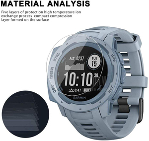 Image 4 - 9H Premium Gehärtetem Glas Für Garmin Instinct Flut GPS Smartwatch Screen Protector Explosion Proof Film Zubehör