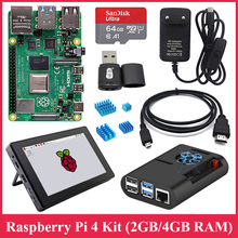 Raspberry Pi 4 Model B Kit + 7 Inch Touch Screen En Case + Voeding + Sd-kaart + case + Koellichaam Voor Raspberry Pi 4 2 Gb 4 Gb