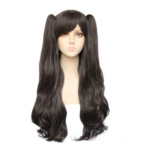 Japanese Fate stay night women Tohsaka Rin cosplay wig role play black hair with 2 ponytails wig lolita black synthetic hairs(China)