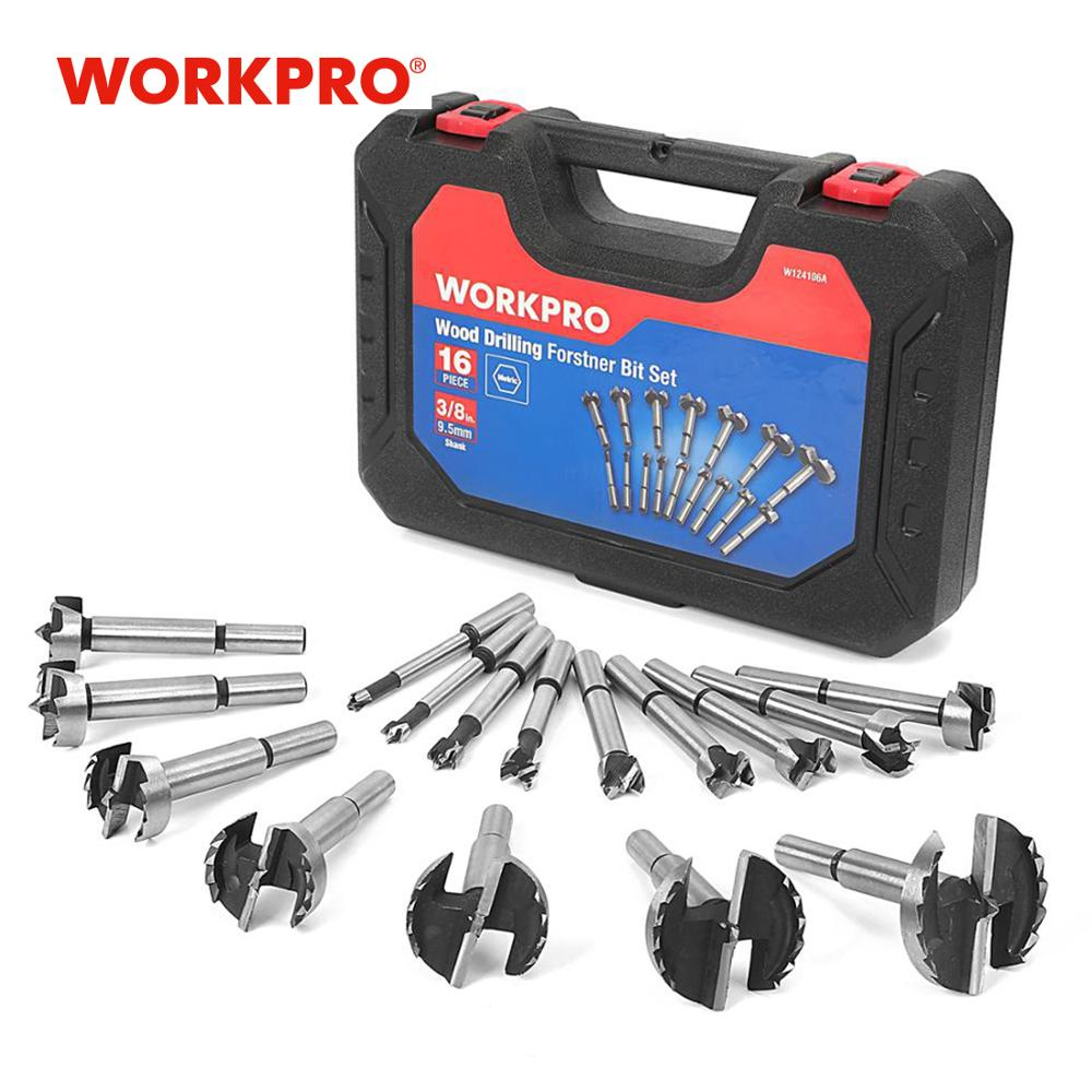 WORKPRO 16PC Forstner Drill Bits Set 6-50mm Wood Drill Bits 40CR Steel Woodworking Hole Saw Drill Bit Set