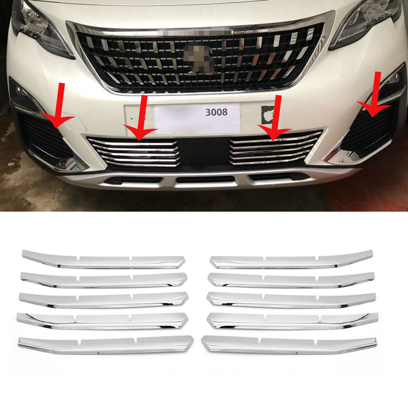 For <font><b>Peugeot</b></font> <font><b>5008</b></font> GT 2017-2020 Front Center Bottom Grille Grill Cover + Fog Light side Grills Grille Trim 3008 GT <font><b>2016</b></font>- 2020 image