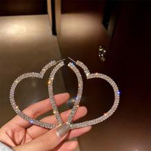 Big Heart Crystal Hoop Earrings Geometric Rhinestones Jewelry SA