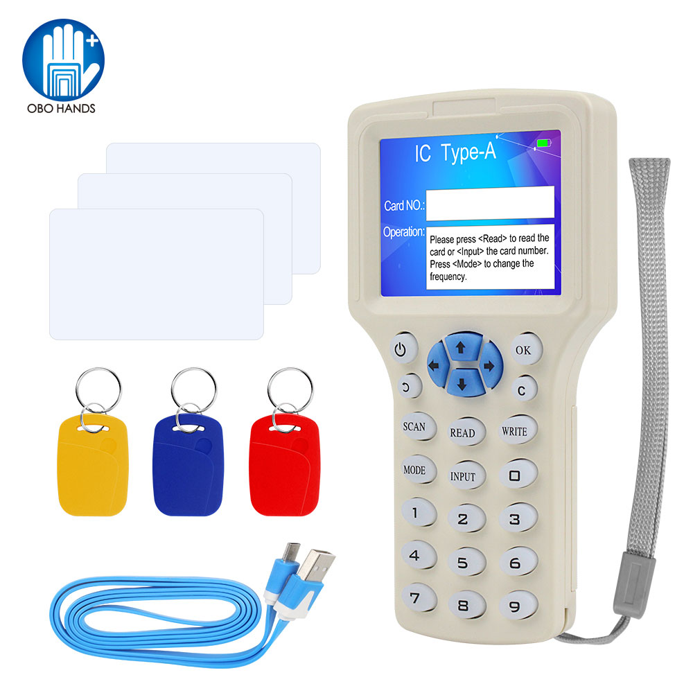 English 10 Frequency RFID Copier Id Ic Reader Writer Copy M1 13.56Mhz Encrypted Duplicator Programmer USB NFC Uid Tag Key Card Control Card Readers /& Security /& Protection for Handheld Readers