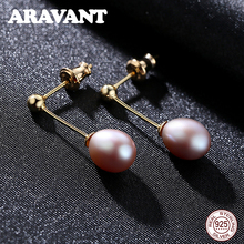 купить Fashion 925 Sterling Silver Freshwater Pearl Long Earrings Wedding Pearl Jewelry Gold Color Drop Earrings дешево