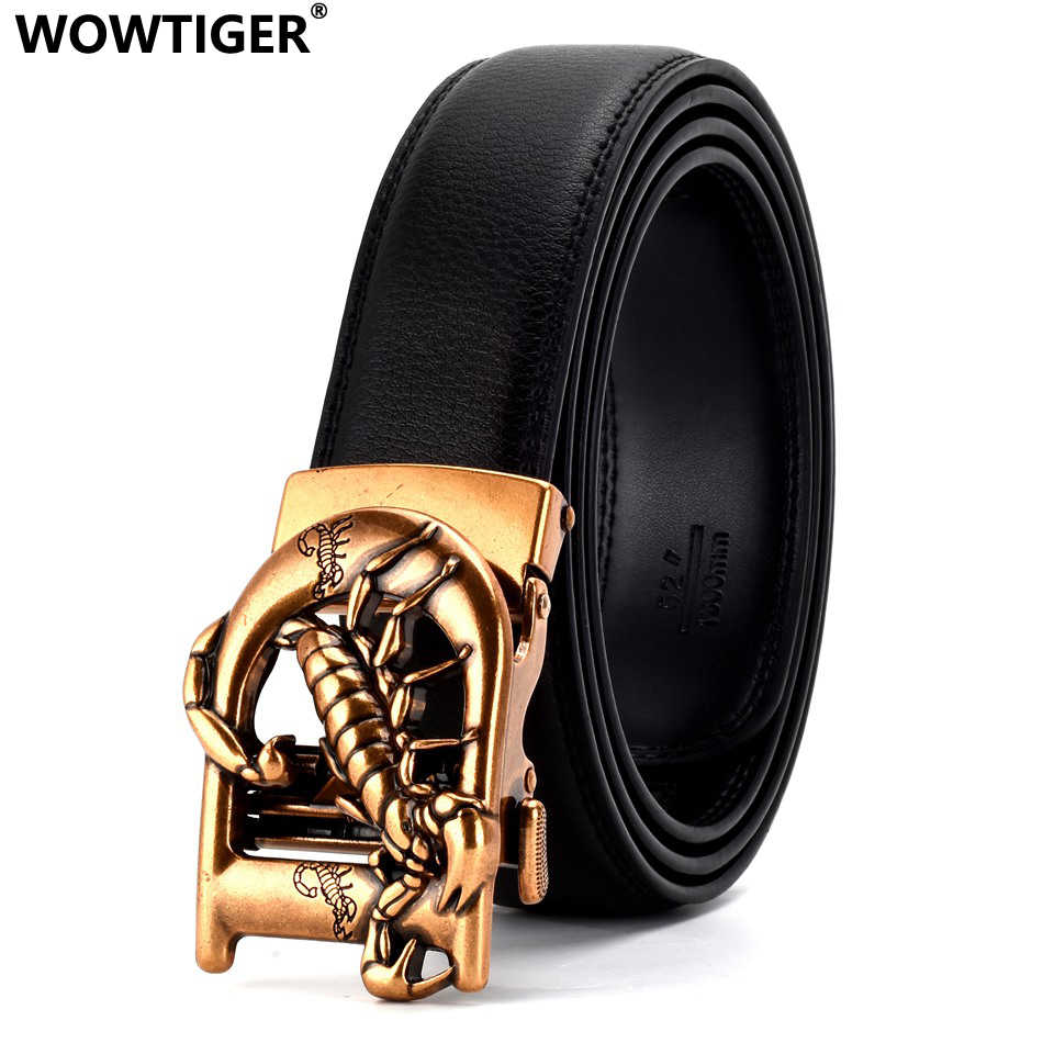 WOWTIGER golden silver color scorpion Automatic Buckle black 35mm Cowhide Leather Belts For Men Luxury Brand clothing belt