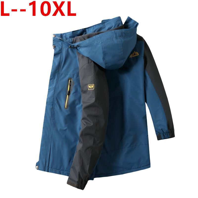 10xl 8xl Куртки мужские осень Утепленная Мужская s теплая куртка ветрозащитное пальто с капюшоном на молнии куртки мужские худи - 2