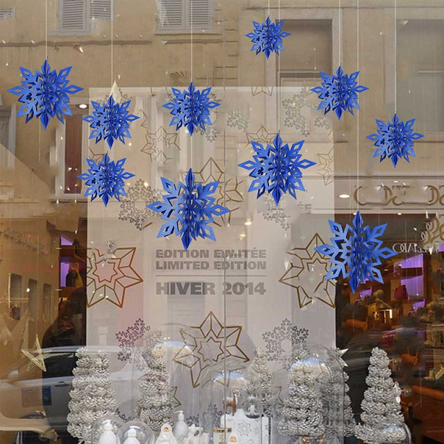 6 Pcs//Set Hanging Ornaments  Hollow 3D Cardboard New Year/'s Snowflake