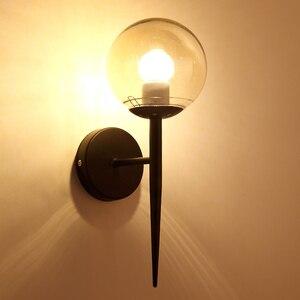 Image 4 - モダンなスタイル E27 led ウォールランプ北欧ガラスボール用通路廊下寝室のベッドサイドランプ壁燭台 AC85 265V