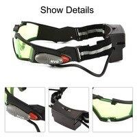 1 pcs 안경 eyeshield 녹색 렌즈 조정 가능한 탄성 밴드 나이트 비전 25 피트 고글 led 조명 어두운 안경 드롭 배송