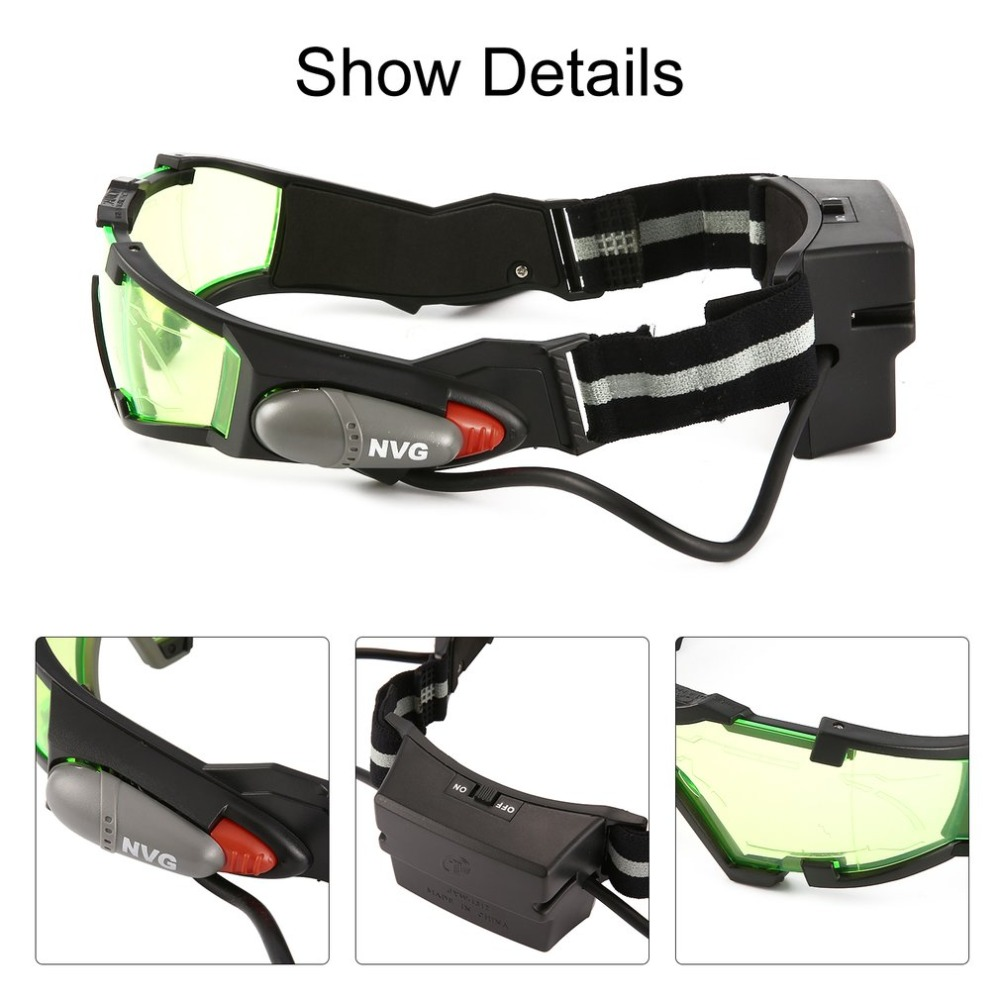 1Pcs Glasses Eyeshield Green Lens Adjustable Elastic Band Night Vision 25 Feet Goggles LED Lights Dark Eyewear Drop Shipping
