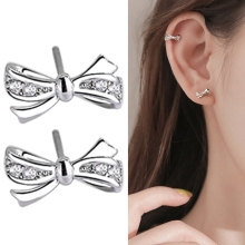 2020 New Fashion Stud Earrings Crystal Bow Design Earring For Women Korea Ear Jewelry Wedding Gifts
