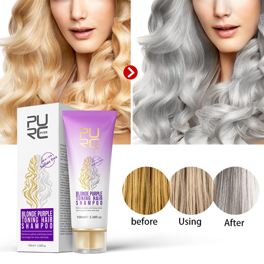 Purple Hair Care Hair Profesional Shampoo Removes Yellow And Brassy Tones For Silver Ash Look Purple Hair Shampoo Treatment