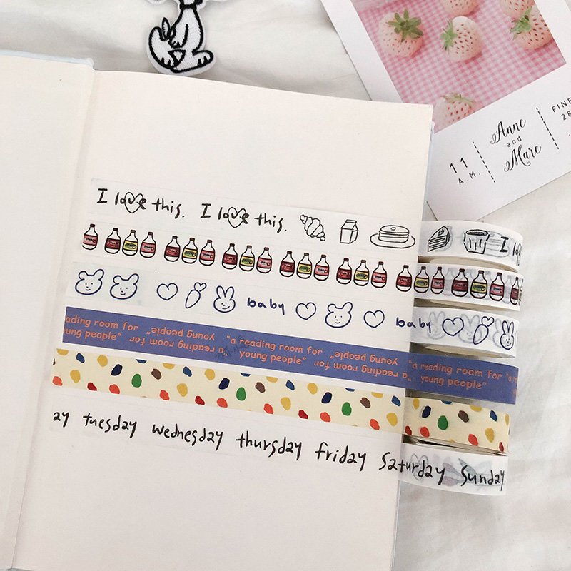 Ins Cute Concise Rabbit Tulips English Washi Tape Korea Student Hand Account Creative Kawaii Decorative Adhesive Tape Stationery