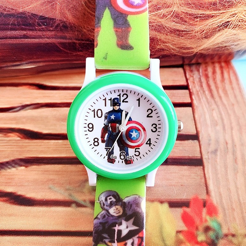 Hot Style Children's Cartoon Captain Iron Man Silica Print With Children's Quartz Watch Boy Casual Watch