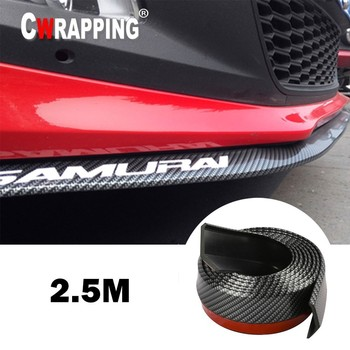 Car Universal Front Bumper Lip  Carbon Fiber Rubber Splitter Chin Spoiler side Skirt Rubber Anti Scratch Protector Body Kit Trim
