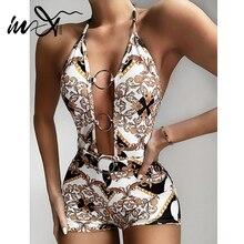 In X Paisley Print Badpak Een Stuk Kelderen Hals Badmode Vrouwen Zomer Sexy Bodysuit Een Stuk Pakken Vintage Monokini bikini