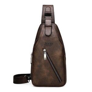 Image 5 - JEEP BULUO seyahat yürüyüş çapraz vücut postacı çantası erkek büyük kapasiteli göğüs tek kollu çanta katı erkekler bölünmüş deri çanta yeni