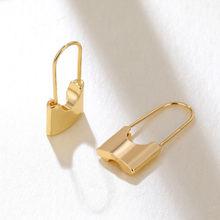 Neue Mode Chunky Schloss Drop Ohrringe für Frauen Gold & Silber Farbe Sicherheit Pin Ohrringe Erklärung Schmuck Minimalistischen