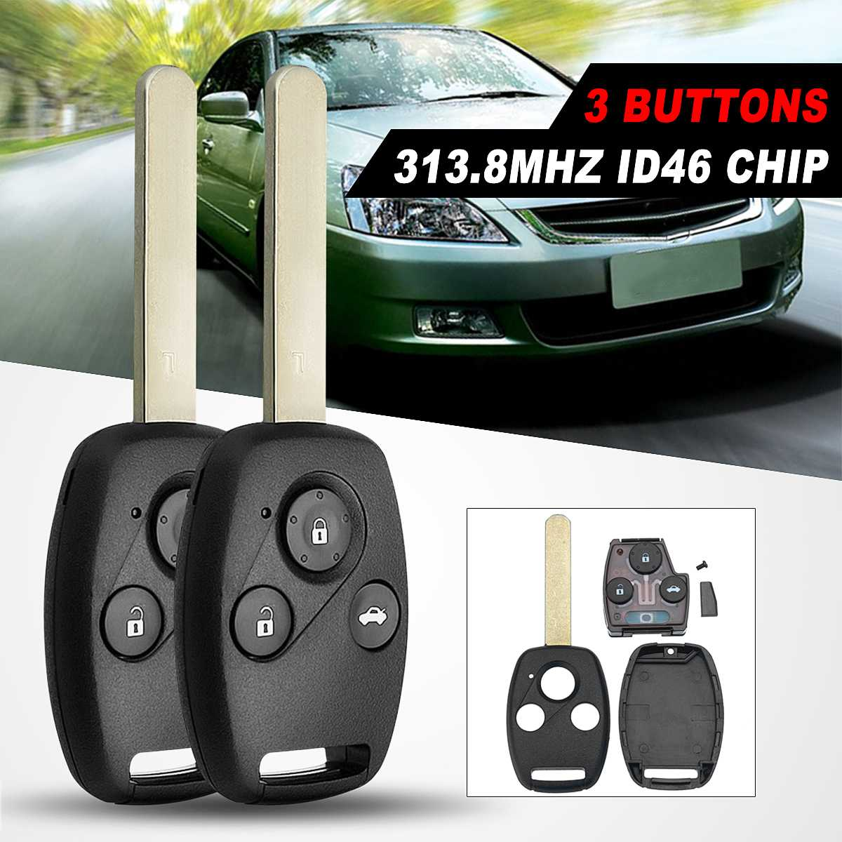 2/3 Buttons 313.8Mhz Car <font><b>Remote</b></font> Key Fob Case Shell With ID-46 Chip For <font><b>Honda</b></font> For Accord/Civic/<font><b>CRV</b></font> 2003 04 05 06 2007 <font><b>Remote</b></font> Key image