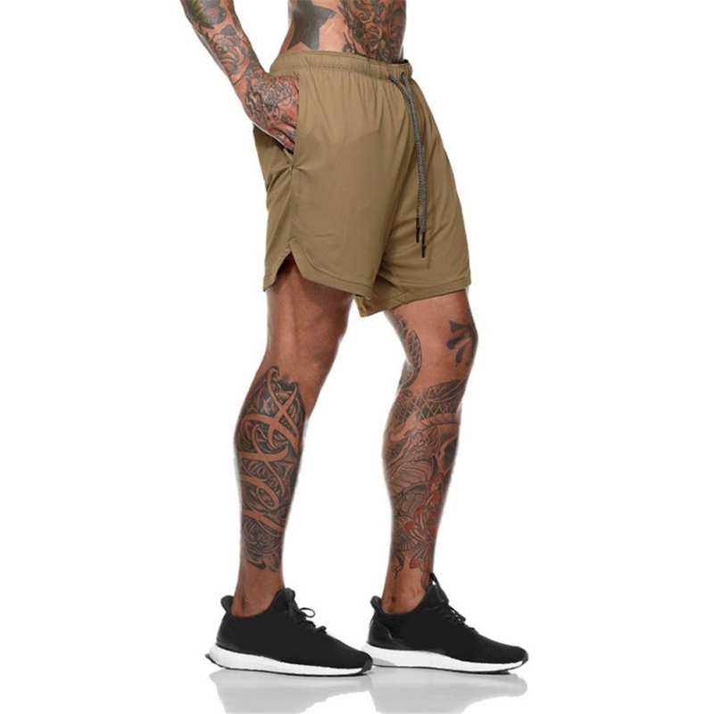New Fashion Men's Shorts Double-layer Plus Size Fitness Training Shorts Built-in Pocket Quick-drying Jogging Pants