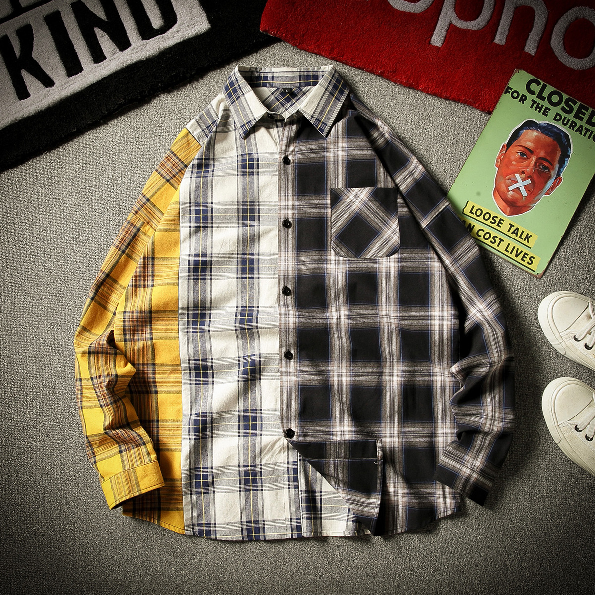 New Kpop Bangtan Boy SUGA Same Unisex Fashion Plaid Blouse Sweatshirt Korean Style Pocket Multicolor Lightweight Shirts