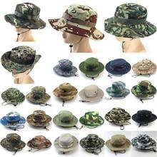Masculino feminino esportes boonie lavado algodão sarja queixo cordão militar camuflagem caça chapéu viagem sun cap balde estilo pescador chapéus