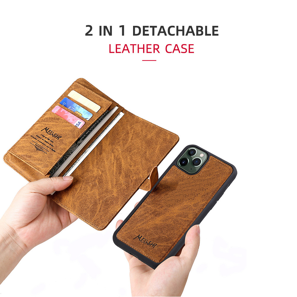 Flip Detachable Magnetic Leather Case Ultra Wallet Cell Phone Cover for Sasmung Note Huawei iphone Samsung Galaxy Note separable
