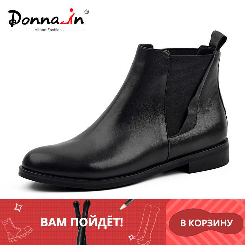 Donna-in Chelsea çizmeler kadın hakiki deri yuvarlak ayak klasik ayak bileği patik düz topuk 2019 sonbahar kış tasarımcı bayanlar ayakkabı