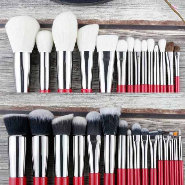 BEILI Red Professional Natural Hair Makeup Brushes Set Powder Foundation Blusher Eye Shadow Eyebrow Lip Eyeliner Contour 1