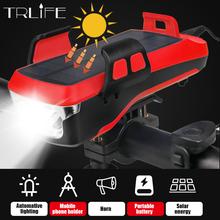 Lampa słoneczna do światła rowerowego latarka o dużej mocy USB akumulator 4000mAh reflektor rowerowy MTB Bike przednie światła Horn lampa rowerowa tanie tanio TRLIFE POWER BANK Twarde Światło Odporny na wstrząsy Bez regulacji 500 metrów 2-4 plików Bicycle light Camping Light Out door