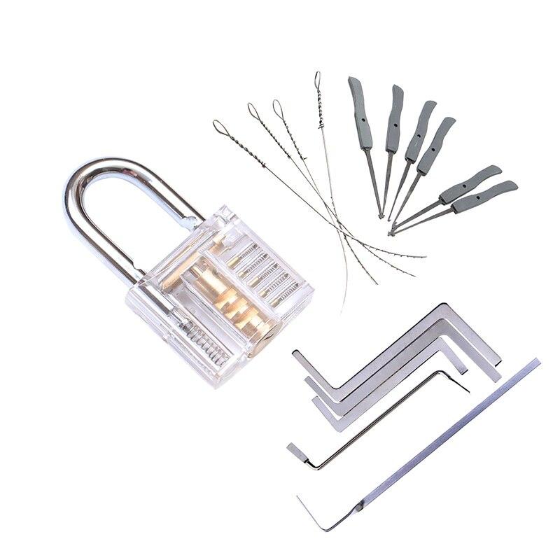 3 في 1 مجموعة أدوات الأقفال ممارسة شفافة قفل عدة مع كسر مفتاح النازع أداة مفتاح الربط إزالة السنانير الأجهزة