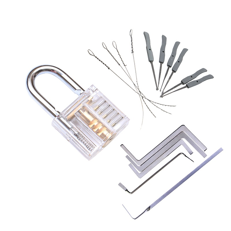 3 em 1 conjunto de ferramentas serralheiro prática kit de bloqueio transparente com chave quebrada extrator chave ferramenta remoção ganchos ferragem