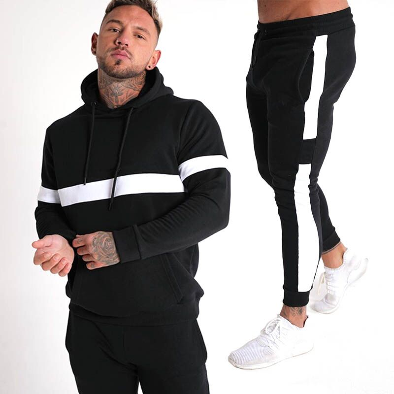 2019 New Men's Autumn Hoodies Tracksuit Set Male Sweatshirt Sweatpants Multi-pocket Fashion Trousers+ High Street Jackets Sets
