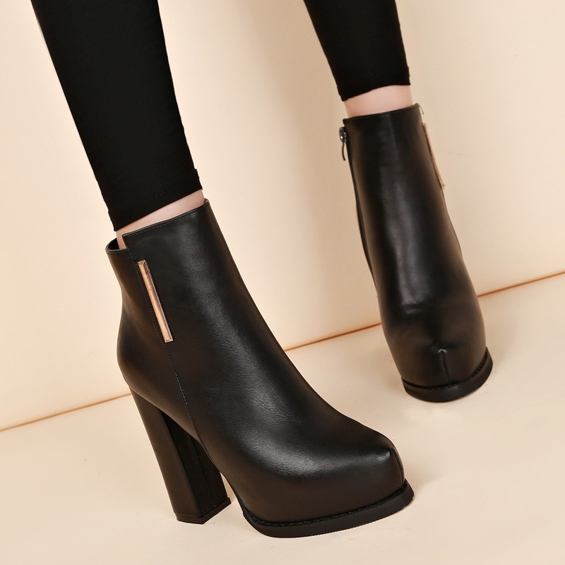New high heel boots point thick with comfortable and elegant joker waterproof Taiwan Martin boots boots fashion black boots