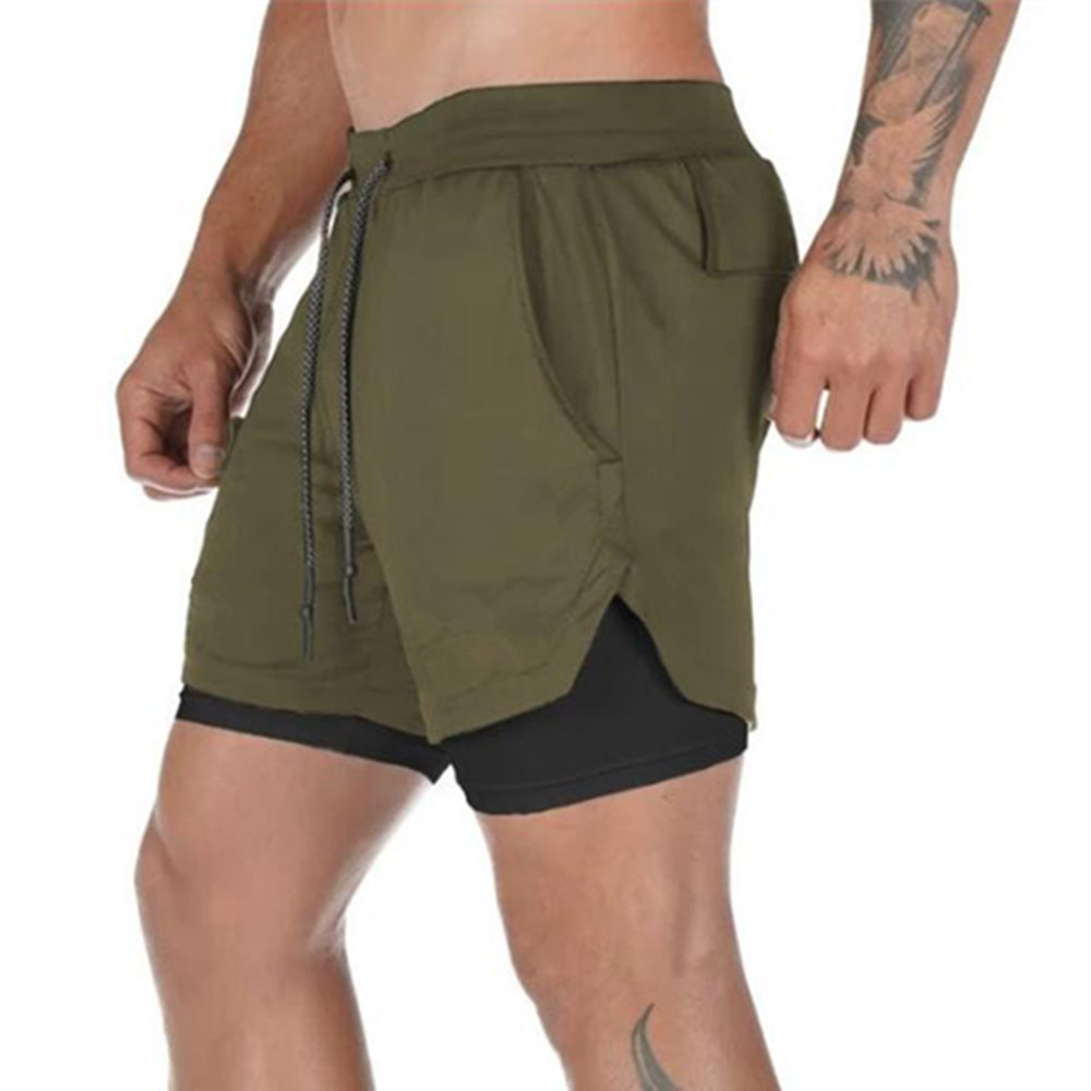 Men 2 in 1 Running Shorts Jogging Gym Fitness Training Quick Dry Beach Short Pants Male Summer Sports Workout Bottoms Clothing 21